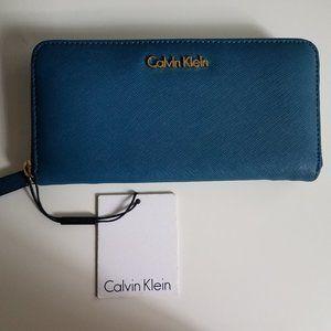 NWT Calvin Klein Teal Leather Wallet